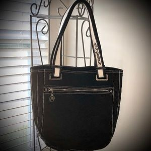 Aeropostale Black Canvas Tote With White Handles